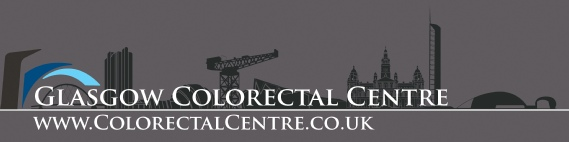 Glasgow Colorectal Centre logo with silhouette of Glasgow skyline and reflections in the river Clyde: reverse colours