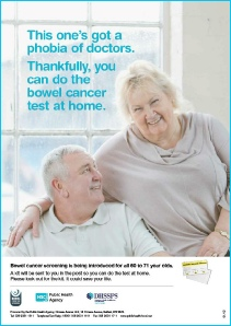 Advert for English Bowel Cancer Screening Programme advising that you can take the test at home